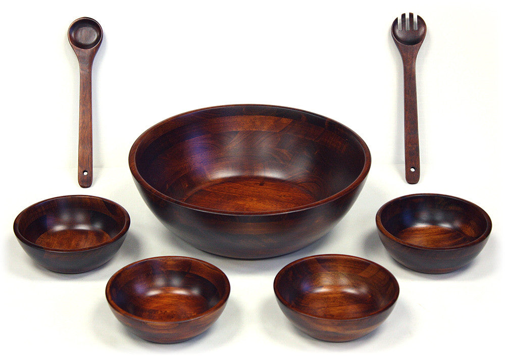 7 Piece Mahogany Finish Wooden Salad Bowl Set