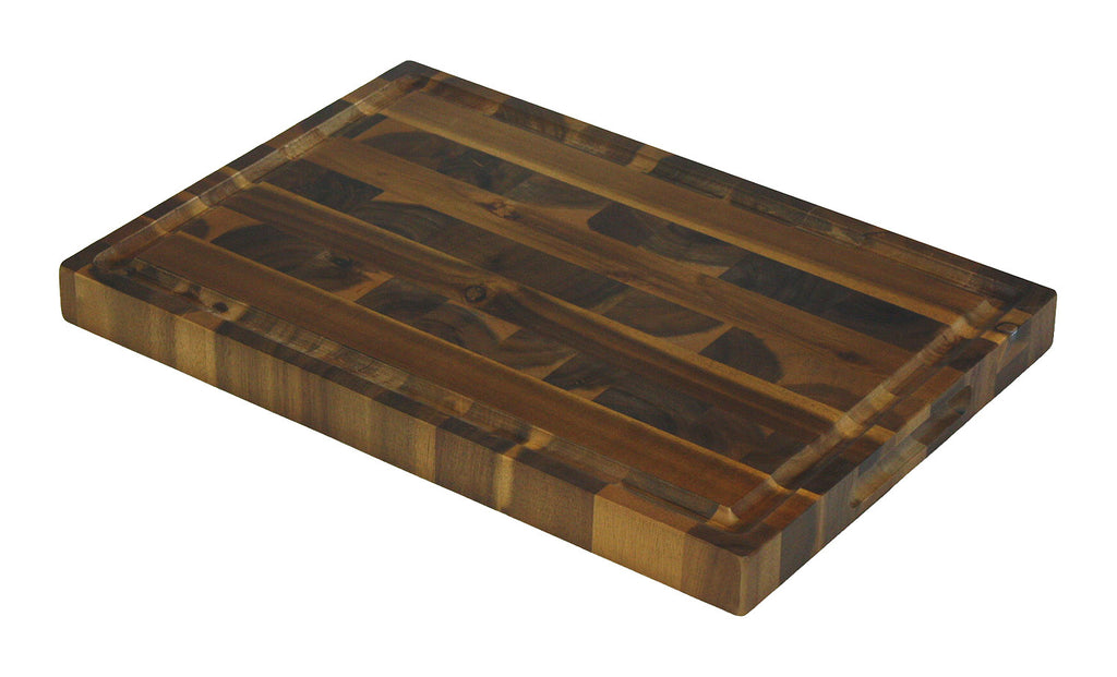 Extra Large Organic End-Grain Hardwood Acacia Cutting Board, with Juice groove, Best Kitchen chopping Board (Butcher Block) for Meat, Cheese, and Vegetable Serving Tray with Carved-In Handles 19X13X1.5