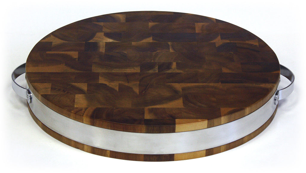 Mountain Woods Brown Extra Thick Acacia Hardwood End Grain Round Cutting Board w/ Stainless Steel Band 1