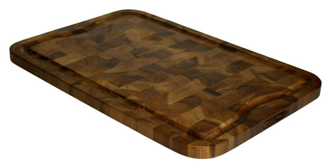 Extra Large Organic End-Grain Hardwood Acacia Cutting Board, with Juice groove, Best Kitchen chopping Board (Butcher Block) for Meat, Cheese, and Vegetable Serving Tray with Carved-In Handles 24X16X1