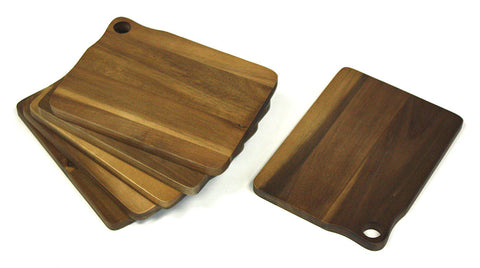 Mountain Woods Brown 6 Piece Acacia Bar Cutting Board Set - 8""