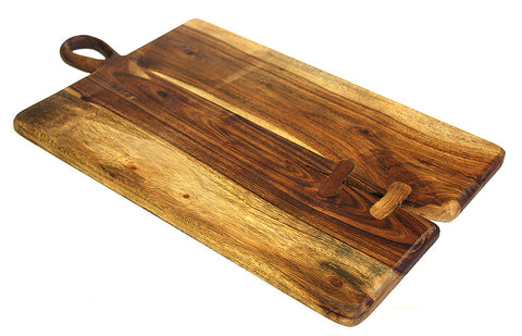 Mountain Woods Brown Large Organic Hardwood Acacia Cutting Board, Rustic finish w/ Tear Drop Handle 1