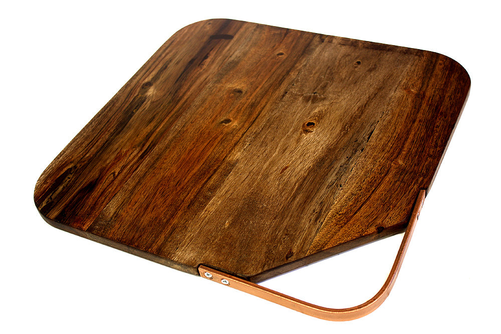 Large Organic Hardwood Acacia Cutting Board with metal handle, Best Kitchen chopping Board (Butcher Block) for Meat, Cheese, Bread, and Vegetable Serving Tray