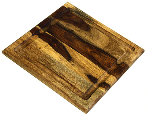 "Organic Hardwood Sheesham Cutting Board, with Juice groove, Best Kitchen chopping Board (Butcher Block) for Meat, Cheese, and Vegetable Serving Tray, 11""X11""X.750"""
