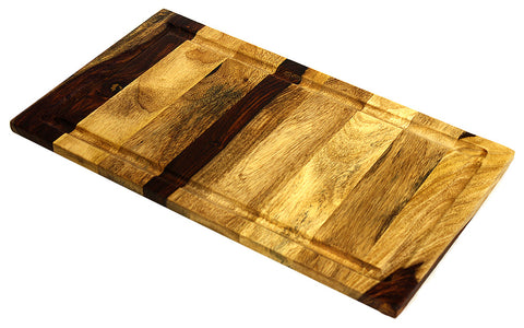 "Large Organic Hardwood Sheesham Cutting Board, with Juice groove, Best Kitchen chopping Board (Butcher Block) for Meat, Cheese, and Vegetable Serving Tray, 19""X11""X.750"""