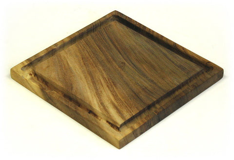 "12"" Square Solid Acacia Cutting Board w/ Deep Juice Groove *HAND CARVED FROM 1 PIECE OF WOOD - 100% NATURAL (NO GLUE USED)*"