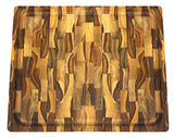 Mountain Woods Teak Cutting Board - Rectangle End Grain Butcher Block With Juice Groove And Carved handle (15 X 12 X 1.25 in.)
