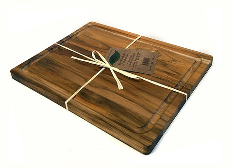 "15"" X 12"" Teak Wood Cutting Board w/ Juice Groove"
