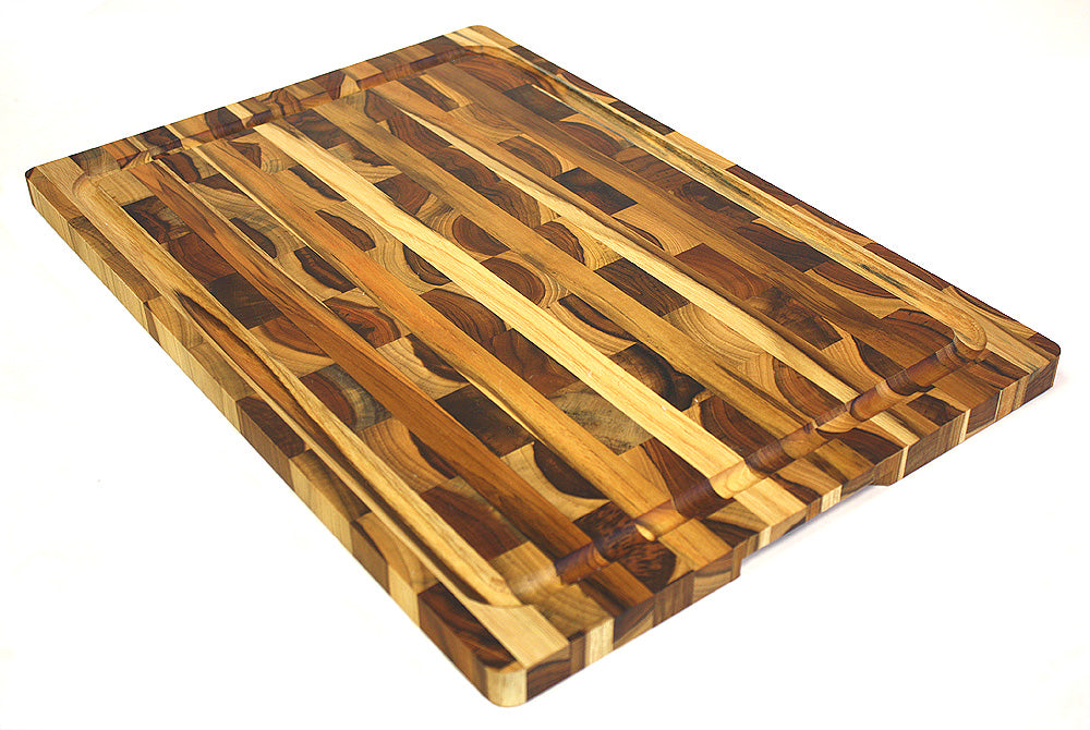 Mountain Woods Brown Teak Cutting Board Rectangle End Grain Butcher Block W Juice Groove And Carved Handle 19