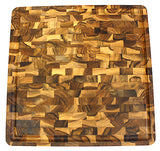 Mountain Woods Teak Cutting Board – End Grain Butcher Block With Juice Groove And Feet(16 X 16 X1.5 in.)