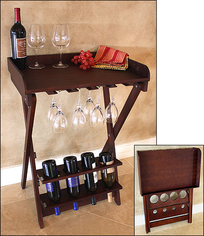 Mountain Woods Walnut Finish Folding Wine Table