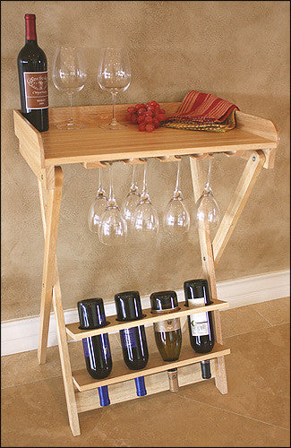 Mountain Woods Natural Finish Folding Wine Table