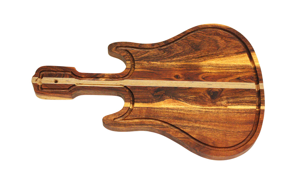 "Mountain Woods Guitar Serving/Cutting board Made With Organic Brown Acacia Wood, 22""X14.5""X1"""