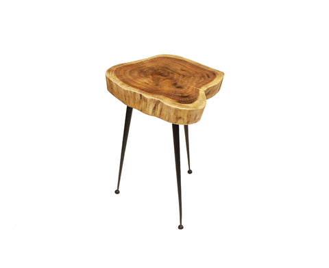 "Mountain Woods Live Edge Stool/Side Table Made With Hand Selected Organic Brown Acacia Wood, 15""X15""X20"""