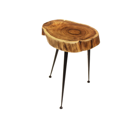 "Mountain Woods Live Edge Stool/Side Table Made With Hand Selected Organic Brown Acacia Wood, 14""X14""X18"""