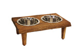"Mountain Woods Medium Pet Server Made with Live Edge Acacia Hardwood, 15.125""X10""X5.5""H, perfect for small to medium pets"