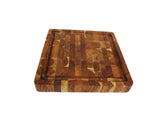 "Mountain Woods Natural Brown Organic End-Grain Hardwood Acacia wooden Butcher Block Cutting or serving Board w/Juice groove - 16"" x 16"" x 2"""