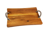 Mountain Woods Brown Extra Large Acacia Artisan Cutting Board and Serving Tray with Vine Shaped Metal Handles - 21.5''