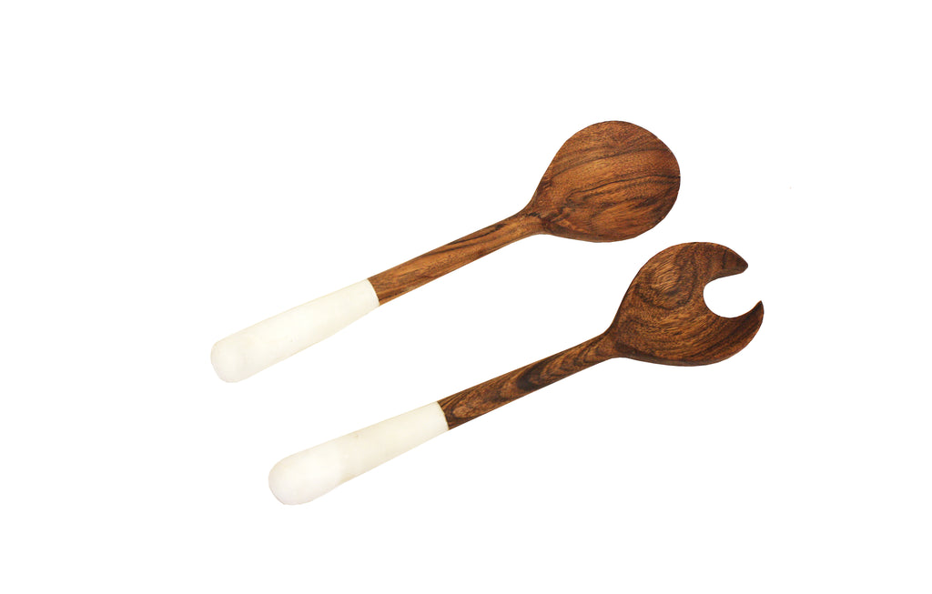 Mountain Woods Set of 2 Luxury & Elegant Himalayan Marble and Solid wood Salad Server / Utensil set - 12""