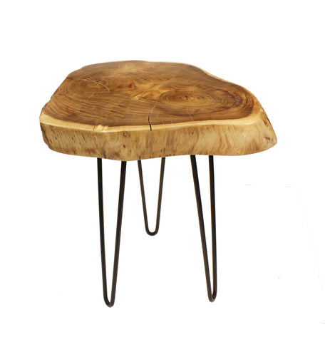 "Mountain Woods Live Edge Side Table / Stool Made With Hand Selected Organic Brown Acacia Wood, 17""X17""X20"""