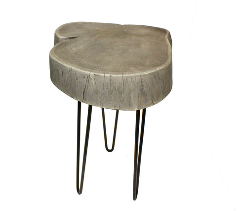 "Mountain Woods Live Edge Side Table / Stool Made With Hand Selected Organic Acacia Wood, Modern Grey Finished, 17""X17""X20"""