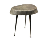 "Mountain Woods Live Edge Stool/Side Table Made With Hand Selected Organic Acacia Wood, Modern Grey Finished 15""X15""X20"""