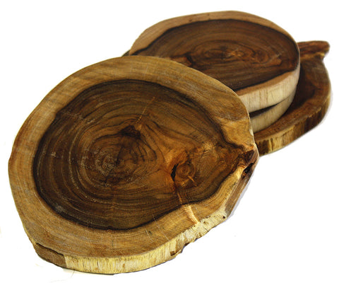 "Mountain Woods Acacia Harwood Best Coasters, set of 4, Handmade 100% Natural & Organic – 4.5"" to 5.5"