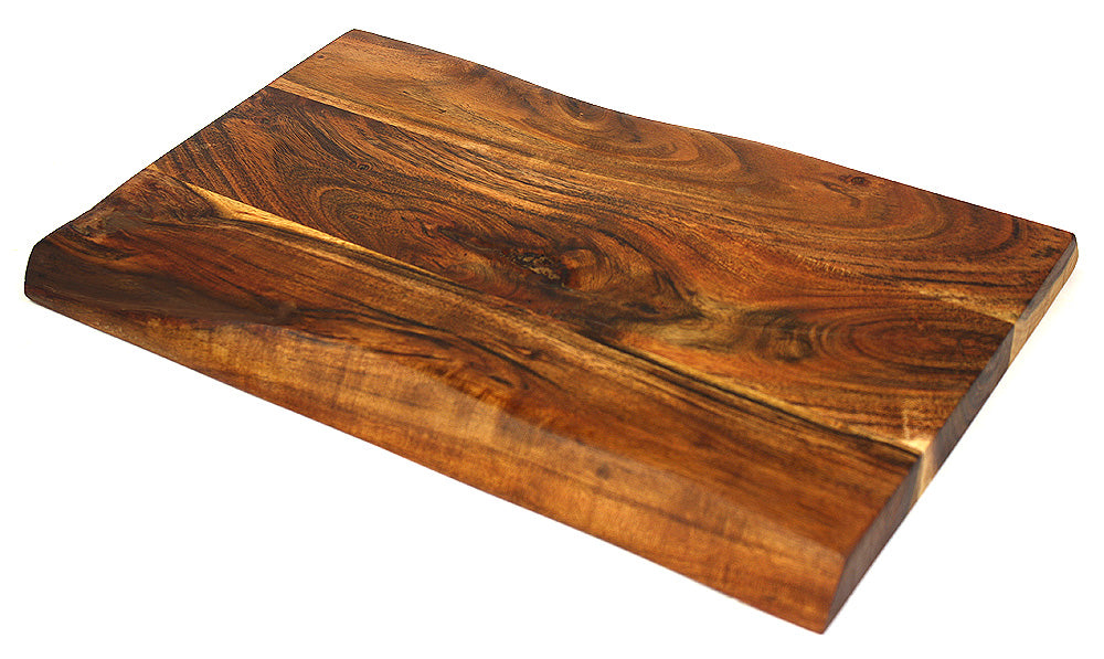 "Mountain Woods Hand Crafted LIVE EDGE Cutting Board/Serving Tray made with Solid Acacia Hard Wood, 20""x11""x0.75"""