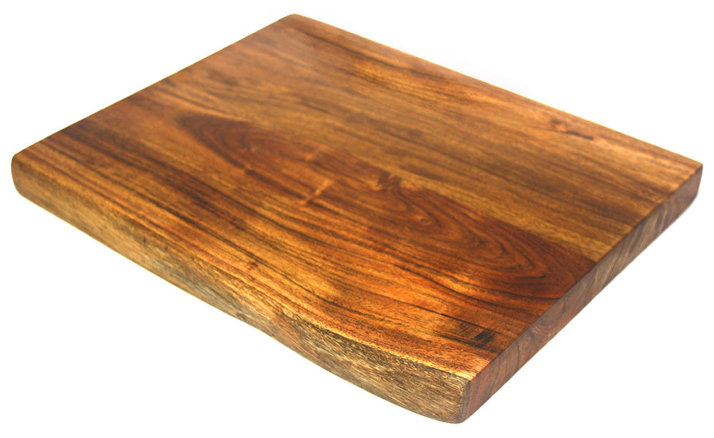 "Mountain Woods Hand Crafted LIVE EDGE Cutting Board/Serving Tray made with Solid Acacia Hard Wood, 15""x12""x1.25"""