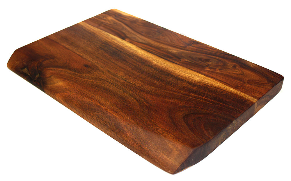 "Mountain Woods Hand Crafted LIVE EDGE Cutting Board/Serving Tray made with Solid Acacia Hard Wood, 18""x12""x1.25"""