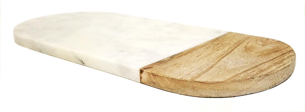 Mountain Woods 14 x 6 Genuine French Marble Stone & Mango Wood Cheese/ Cutting Board