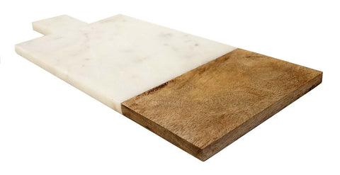 Mountain Woods 16 x 7 Genuine French Marble Stone & Mango Wood Cheese/ Cutting Board/Paddle Board