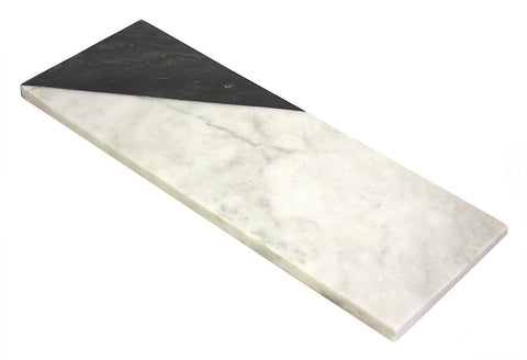 Mountain Woods 12 x 6 Genuine French White and BlackMarble Stone Cheese/ Cutting Board