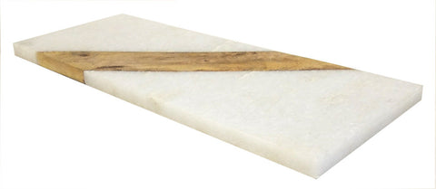 Mountain Woods 15 x 6 Genuine French Marble Stone & Mango Wood Cheese/ Cutting Board