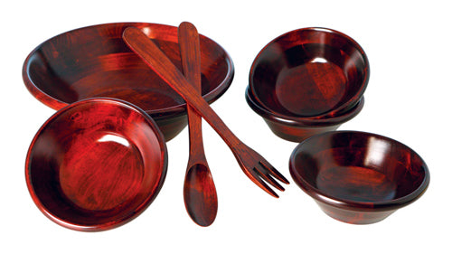 Mountain Woods 7 Piece Vibrant Mahogany Serving Salad Bowl Set 1