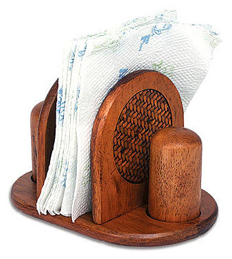 Mountain Woods Rattan Napkin Holder w/ Salt & Pepper Set