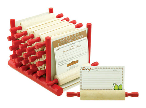 Mountain Woods 24 Piece Rolling Pin Recipe Card Holder Set w/ Display