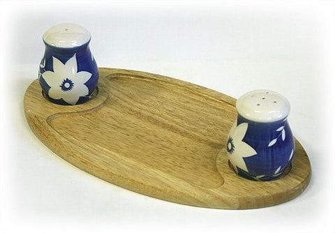 White Blossoms Salt Pepper Condiment Tray Set