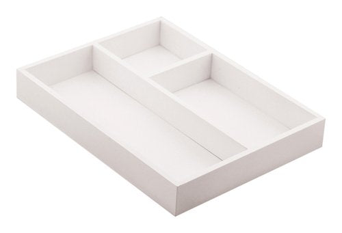 White 3 Compartment White Organizer Tray