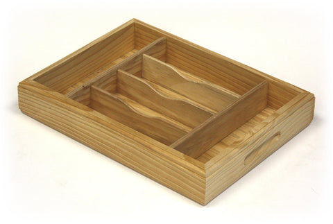 Mountain Woods Light Brown 6 Compartment Premium Hardwood Organizer Tray 1
