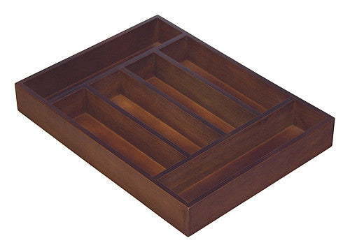 Mountain Woods Walnut Finish 6 Compartment Utensil / Silverware Organizer Tray
