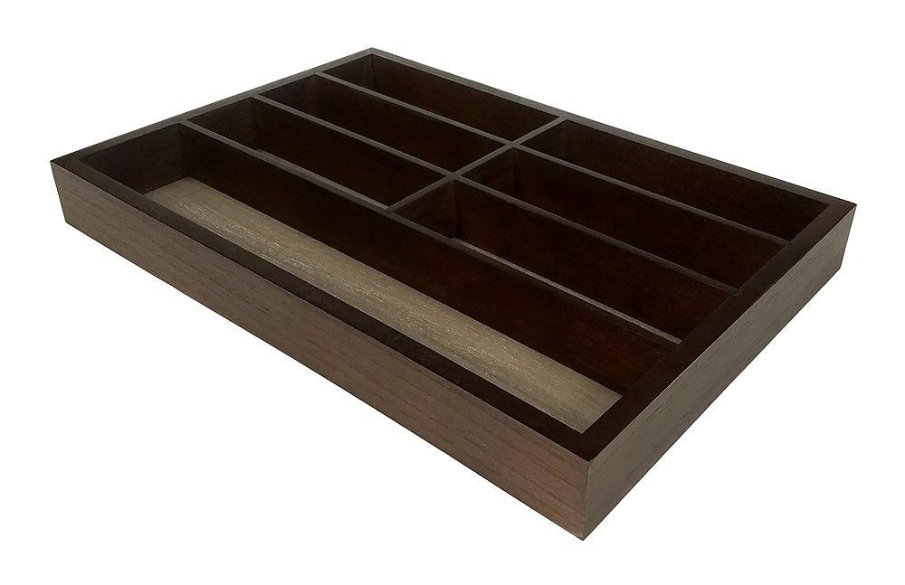 Mountain Woods Brown 7 Compartment Premium Hardwood Organizer Tray 1