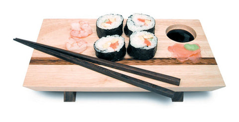 Mountain Woods Sushi Server & Chopsticks Set