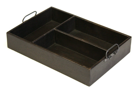 Mountain Woods Extra Large 3 Section Vintage Style Espresso Brown Mango Wood Organizer Tray / Caddy with Metal Handles