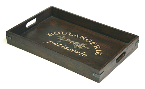 "Mountain Woods Extra Large (24"" X 16"") Boulangerie Antique Style Artisan Wood Serving Tray w/ Metal Accents"