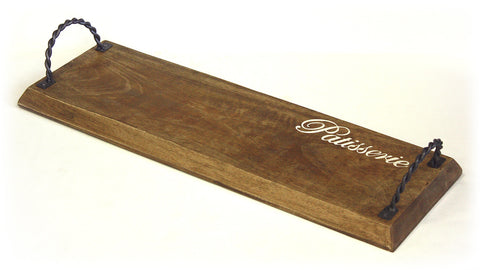 Mountain Woods Brown Artisan Pastry Shop/Patisserie Mango Wood Cutting Board & Serving Tray with Twisted Metal Handles 1