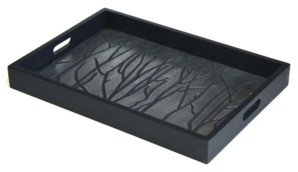 Mountain Woods Black Tree Line Luxury Wooden Serving Tray w/ Brushed Aluminum Accents 1