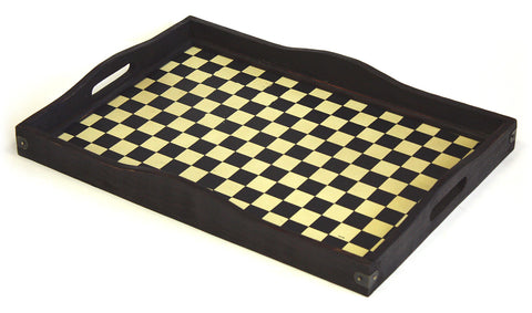 Mountain Woods Checker Bottom Hand Made Antique Style Serving Tray 1