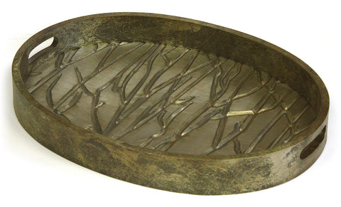 "Mountain Woods 21"" Golden Tree Line Luxury Oval Wooden Serving Tray w/ Brushed Aluminum Accents"