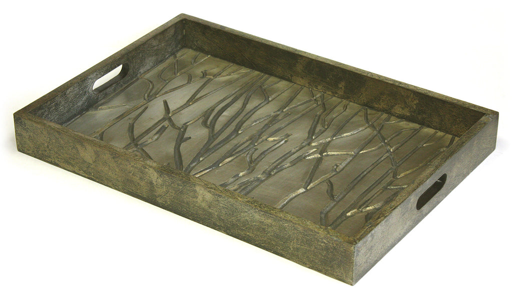 Mountain Woods Golden Tree Line Luxury Wooden Serving Tray w/ Brushed Aluminum Accents 1
